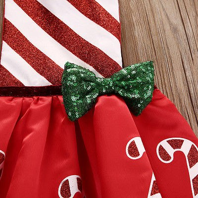 Bow Striped Candy Cane Baby Girl Dress 2