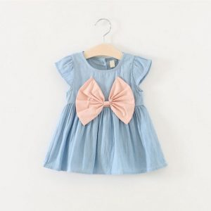 Summer Jeans Bow Baby Girl Dress
