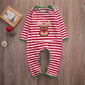 Striped Christmas Long Sleeve Baby Romper