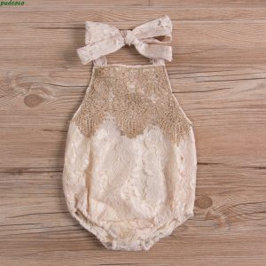 Backless Lace Sleeveless Baby Girl Romper