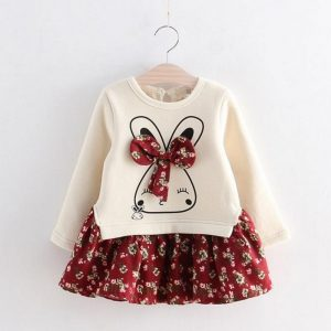 Rabbit Bow Floral Baby Girl Dress