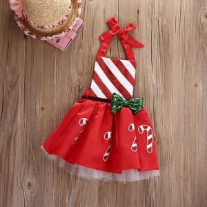 Bow Striped Candy Cane Baby Girl Dress