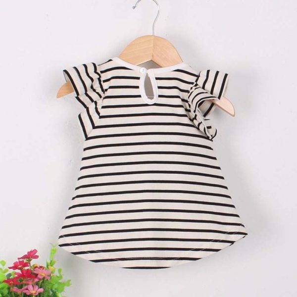 Striped Bowknot Baby Girl Dress 4