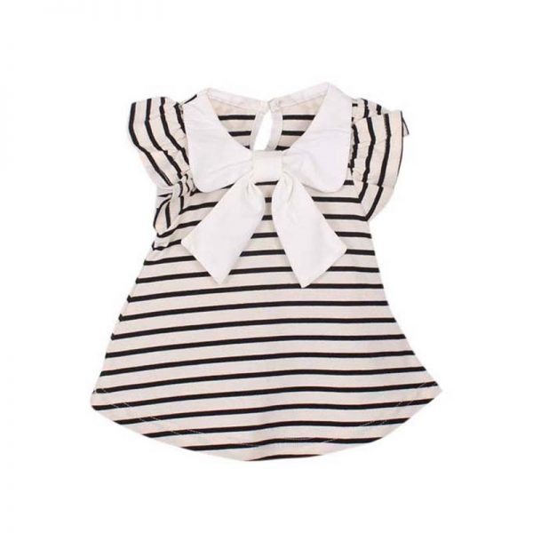 Striped Bowknot Baby Girl Dress 2