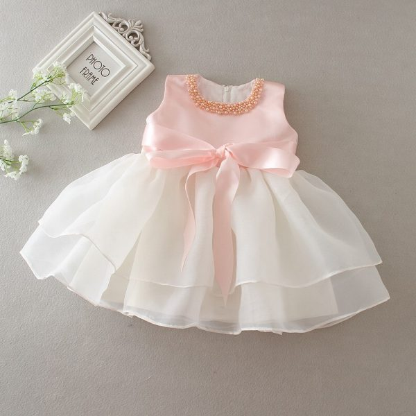Pink Necklace Ball Gown Baby Girl Dress 2