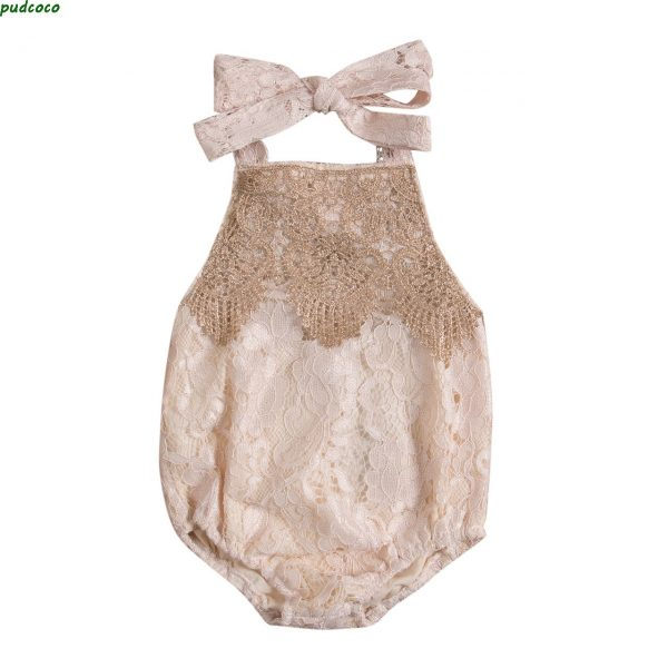 Backless Lace Sleeveless Baby Girl Romper 1