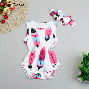 Feathers Jumpsuit Baby Girl Set