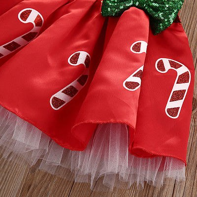 Bow Striped Candy Cane Baby Girl Dress 1