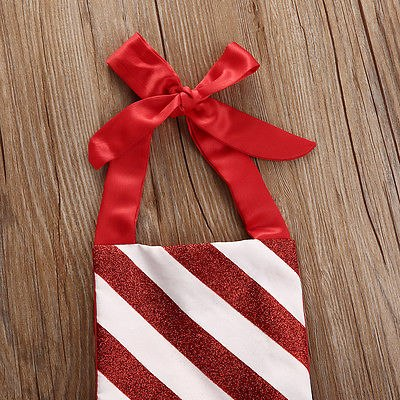 Bow Striped Candy Cane Baby Girl Dress 3